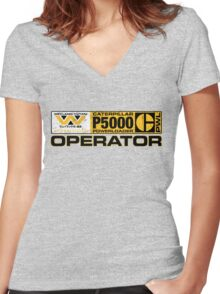 Powerloader Operator Women's Fitted V-Neck T-Shirt