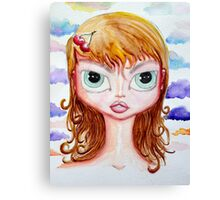 Cherry Girl Watercolor Canvas Print