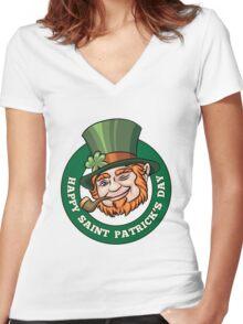 Saintt Patricks Day Badge Women's Fitted V-Neck T-Shirt