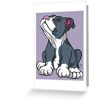Bull Terrier Puppy Teal Blue Greeting Card