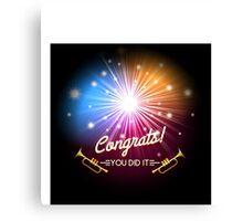 Congrats Fireworks Canvas Print