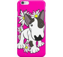 English Bull Terrier Pup Daisies  iPhone Case/Skin