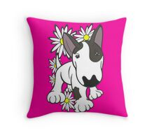 English Bull Terrier Pup Daisies  Throw Pillow
