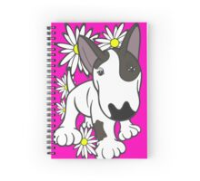 English Bull Terrier Pup Daisies  Spiral Notebook