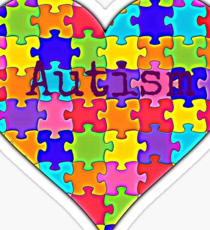 Autism heart jigsaw puzzle design Sticker