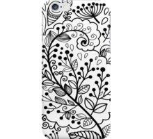 Black henna flowers illustration modern floral  iPhone Case/Skin