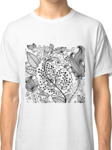 Black henna flowers illustration modern floral  Classic T-Shirt