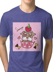 Schnauzer Cupcake - Pink Tri-blend T-Shirt