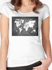 World map black Women's Fitted Scoop T-Shirt