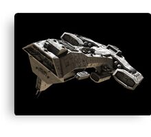 Spaceship on black - front side view Canvas Print