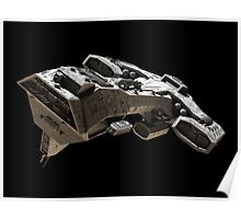 Spaceship on black - front side view Poster