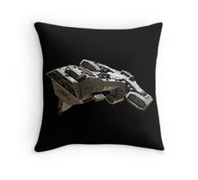 Spaceship on black - front side view Throw Pillow