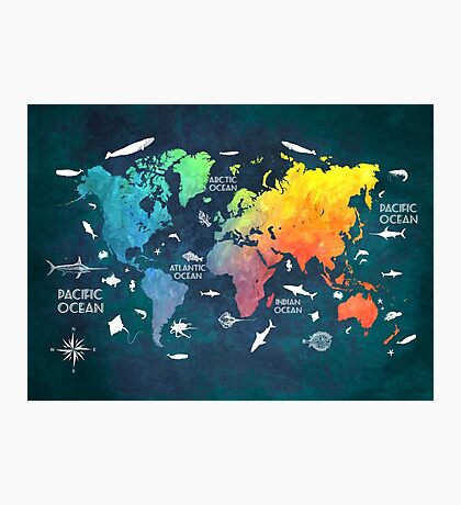 Oceans Life World Map colored Photographic Print