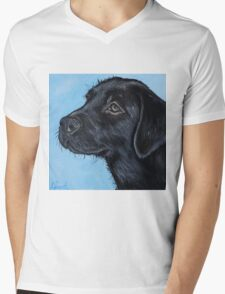 Black Labrador Puppy Mens V-Neck T-Shirt