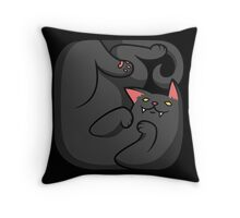 Black boxed cat Throw Pillow