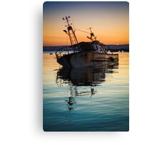 Sunset Wreck Reflected  Canvas Print