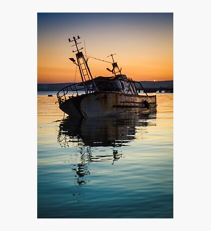 Sunset Wreck Reflected  Photographic Print