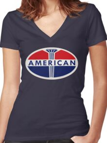 American Oil Company Women's Fitted V-Neck T-Shirt