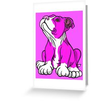American Bull Terrier Puppy Pink  Greeting Card