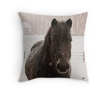 Harley the working pony Throw Pillow