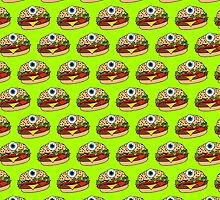 Cyclops Burger Pattern Green by Lucy Lier