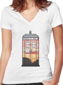 Sunset TARDIS Women's Fitted V-Neck T-Shirt