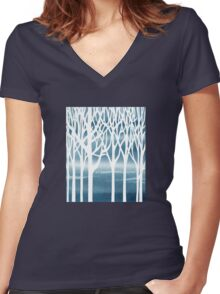 Baby Blue Forest Women's Fitted V-Neck T-Shirt
