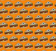 Cyclops Burger Pattern Orange  by Lucy Lier