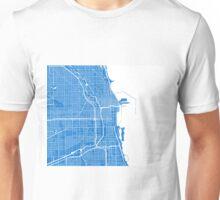 Chicago Map - Light Blue Unisex T-Shirt