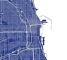 Chicago Map - French Blue by CartoCreative