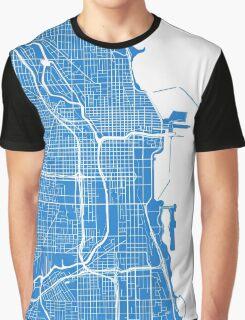 Chicago Map - Light Blue Graphic T-Shirt