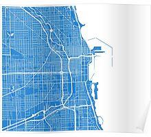 Chicago Map - Light Blue Poster