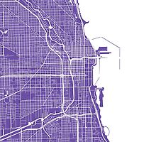 Chicago Map - Purple by CartoCreative