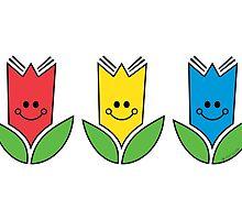 Flowers Of Primary Colors - Fleurs Aux Couleurs Primaires by PopAlien