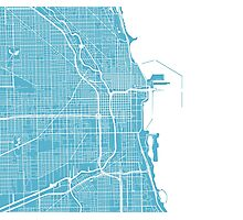Chicago Map - Baby Blue Photographic Print