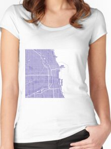 Chicago Map - Light Purple Women's Fitted Scoop T-Shirt