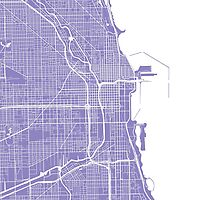 Chicago Map - Light Purple by CartoCreative