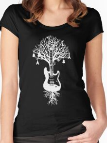Nature Guitar White Tree Music Banksy Art Women's Fitted Scoop T-Shirt