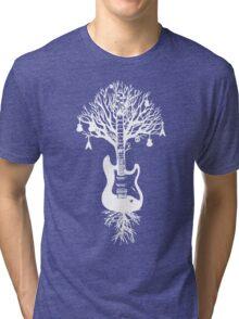 Nature Guitar White Tree Music Banksy Art Tri-blend T-Shirt