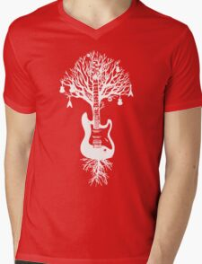Nature Guitar White Tree Music Banksy Art Mens V-Neck T-Shirt