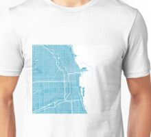 Chicago Map - Baby Blue Unisex T-Shirt
