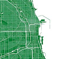 Chicago Map - Green by CartoCreative