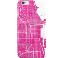 Chicago Map - Hot Pink iPhone Case/Skin