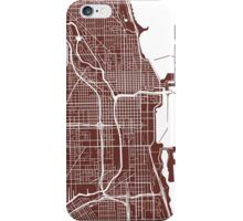 Chicago Map - Dark Brown iPhone Case/Skin