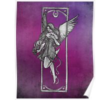 Gothic Angel Drawing with Purple Background Poster
