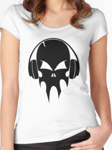 Skull with headphones - version 1 - black Women's Fitted Scoop T-Shirt