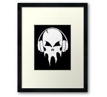 Skull with headphones - version 2 - white Framed Print