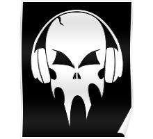 Skull with headphones - version 2 - white Poster