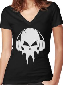 Skull with headphones - version 2 - white Women's Fitted V-Neck T-Shirt