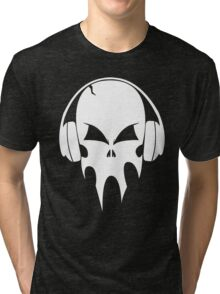 Skull with headphones - version 2 - white Tri-blend T-Shirt